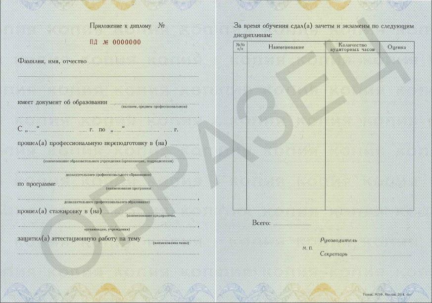 Информационная безопасность профессиональная переподготовка  Приложение к Диплому о профессиональной переподготовке jpg